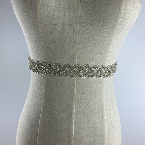Frauen Schmuck Brautkleid Gürtel Silber Kristall Schärpe Brautgürtel - 2