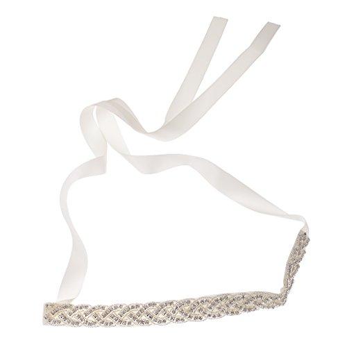 Frauen Schmuck Brautkleid Gürtel Silber Kristall Schärpe Brautgürtel - 6