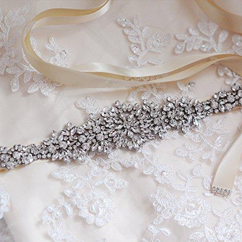 TOPQUEEN Damen Kristall Hochzeit Gürtel Sash,Strass Braut Gürtel Sash, Strass Braut Sash Schärpe Perlen Hochzeit Schärpe Sash (lila grau) - 4