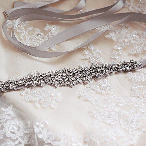 TOPQUEEN Damen Kristall Hochzeit Gürtel Sash,Strass Braut Gürtel Sash, Strass Braut Sash Schärpe Perlen Hochzeit Schärpe Sash (lila grau) - 5