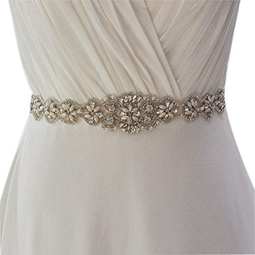 TOPQUEEN Strass des femmes ceinture ceintures ceintures Bridal Sash de mariage pour mariage (Elfenbein) - 2