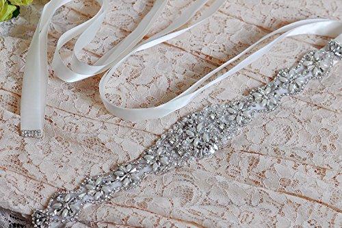 TOPQUEEN Strass des femmes ceinture ceintures ceintures Bridal Sash de mariage pour mariage (Elfenbein) - 4