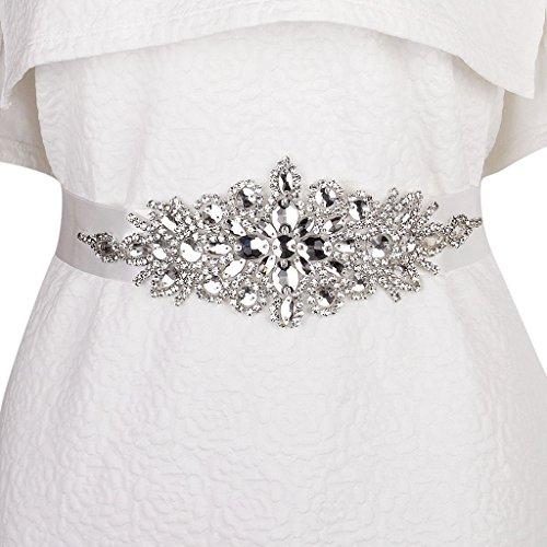 Braut Hochzeitskleid Gürtel Schärpe Kristall Strass Funkeln Band Binden - Weiß - 2