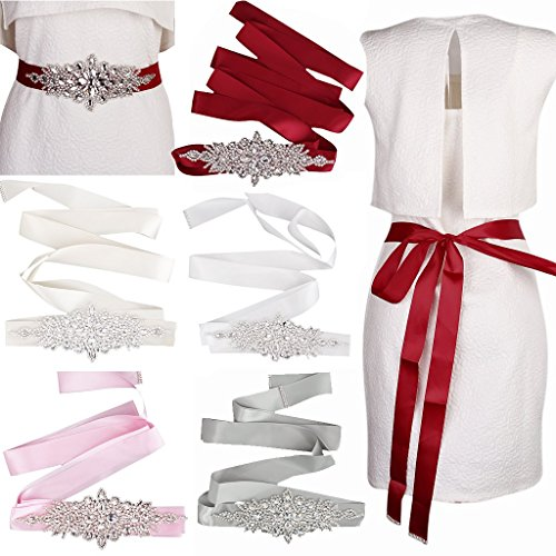 Braut Hochzeitskleid Gürtel Schärpe Kristall Strass Funkeln Band Binden - Weiß - 5