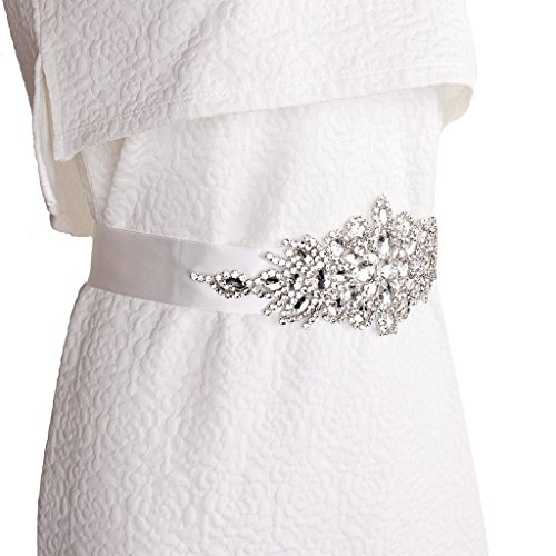 Braut Hochzeitskleid Gürtel Schärpe Kristall Strass Funkeln Band Binden - Weiß - 9