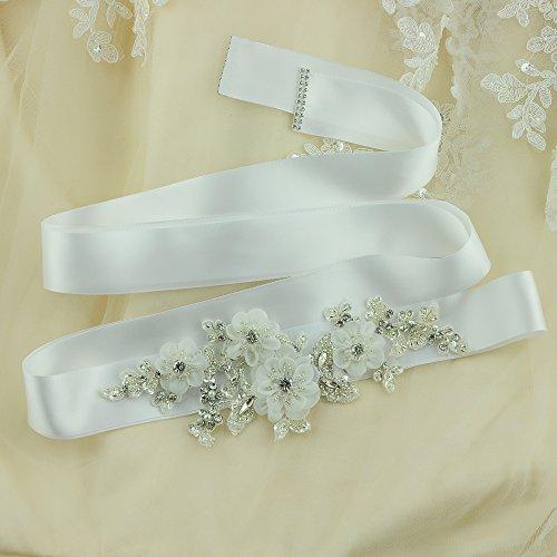 ULAPAN Damen Blume Hochzeit Gürtel Sash,Perlen Braut Gürtel Sash, Strass Braut Sash Schärpe Rhinestones Hochzeit Schärpe Sash (Königsblau) - 2