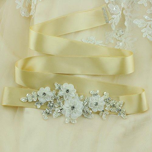 ULAPAN Damen Blume Hochzeit Gürtel Sash,Perlen Braut Gürtel Sash, Strass Braut Sash Schärpe Rhinestones Hochzeit Schärpe Sash (Königsblau) - 3