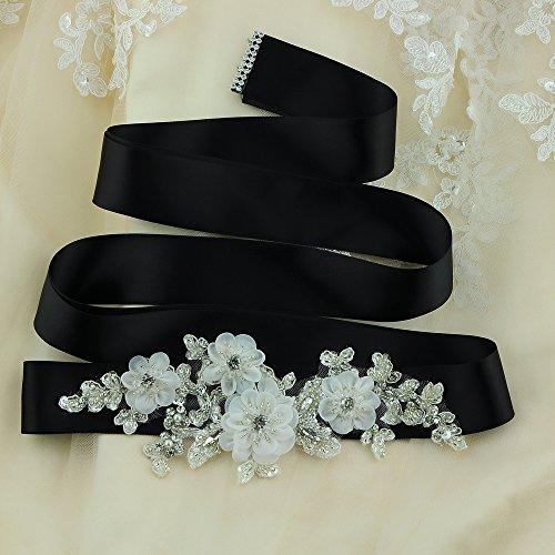 ULAPAN Damen Blume Hochzeit Gürtel Sash,Perlen Braut Gürtel Sash, Strass Braut Sash Schärpe Rhinestones Hochzeit Schärpe Sash (Königsblau) - 4