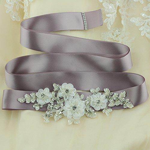 ULAPAN Damen Blume Hochzeit Gürtel Sash,Perlen Braut Gürtel Sash, Strass Braut Sash Schärpe Rhinestones Hochzeit Schärpe Sash (Königsblau) - 5