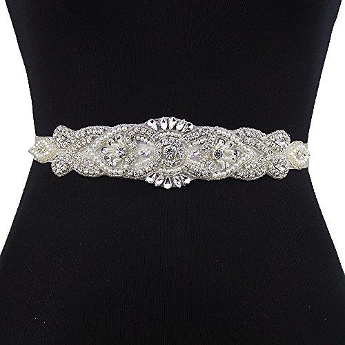 Braut Gürtel mit Perlen (Rosa Grau)