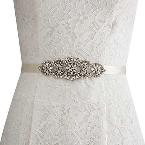 Strass Hochzeitsgürtel, Perlen, Strass Braut (Elfenbein)