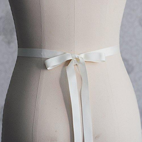 ULAPAN Strass Hochzeit Gürtel,Perlen Braut Gürtel,Strass Braut Schärpe Perlen Hochzeit Sash (Elfenbein) - 3