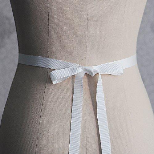 ULAPAN Strass Hochzeit Gürtel,Kristalle Braut Gürtel,Perlen Braut Schärpen Perlen Hochzeit Schärpen (Naturweiss) - 3