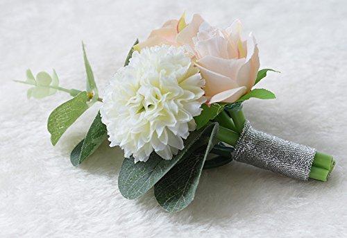 quibine Herren Boutonniere Bräutigam Groom Boutonniere noutineer für Hochzeit Ball Party Meeting, Textil, 2er-Packung - 3