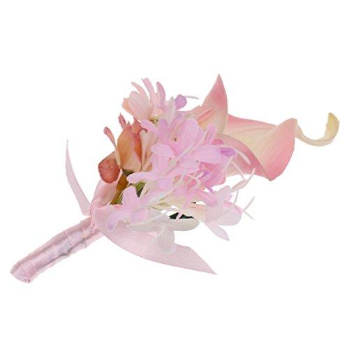 Bräutigam Boutonniere Brosche Pin - Rosa, 14 x 9 x 4cm
