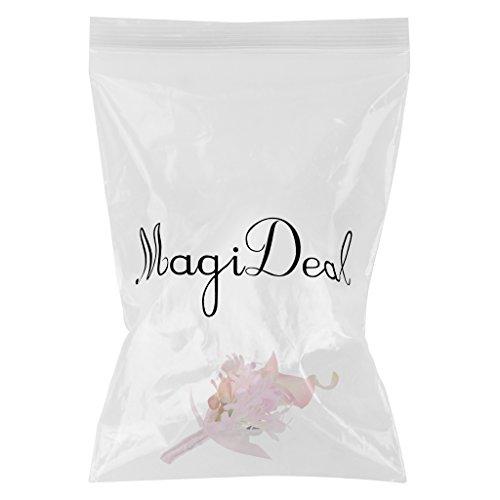 MagiDeal Hochzeit Seide Calla Blumen Boutonniere Braut Corsage Ansteckblume Bräutigam Boutonniere Brosche Pin - Rosa, 14 x 9 x 4cm - 2