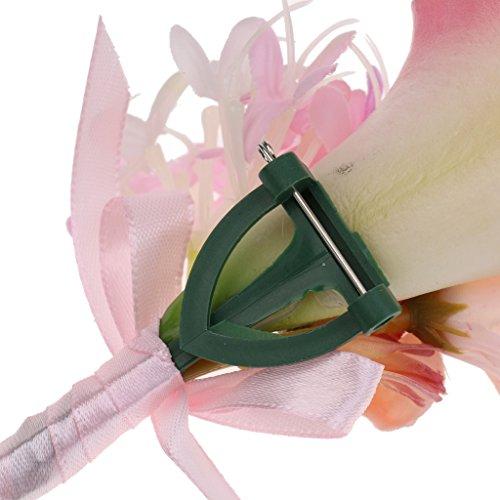 MagiDeal Hochzeit Seide Calla Blumen Boutonniere Braut Corsage Ansteckblume Bräutigam Boutonniere Brosche Pin - Rosa, 14 x 9 x 4cm - 3
