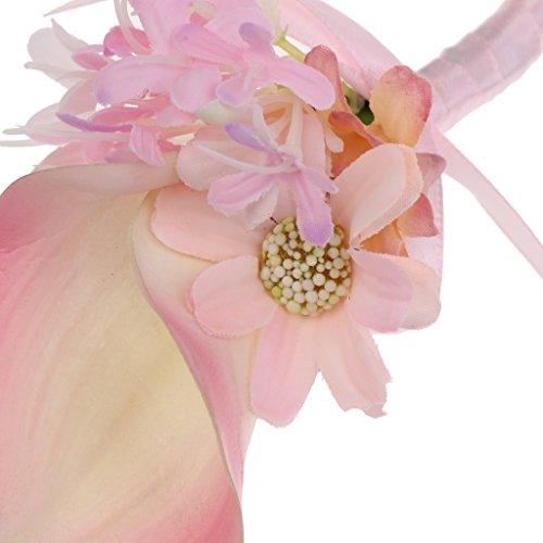 MagiDeal Hochzeit Seide Calla Blumen Boutonniere Braut Corsage Ansteckblume Bräutigam Boutonniere Brosche Pin - Rosa, 14 x 9 x 4cm - 4