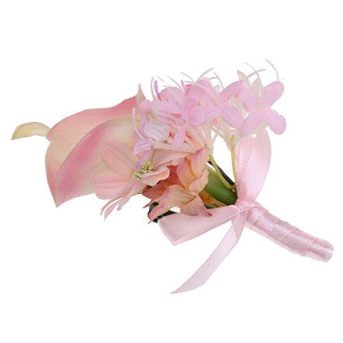 MagiDeal Hochzeit Seide Calla Blumen Boutonniere Braut Corsage Ansteckblume Bräutigam Boutonniere Brosche Pin - Rosa, 14 x 9 x 4cm - 6