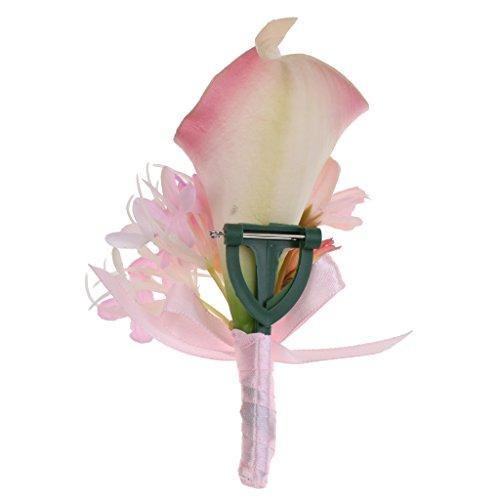 MagiDeal Hochzeit Seide Calla Blumen Boutonniere Braut Corsage Ansteckblume Bräutigam Boutonniere Brosche Pin - Rosa, 14 x 9 x 4cm - 7
