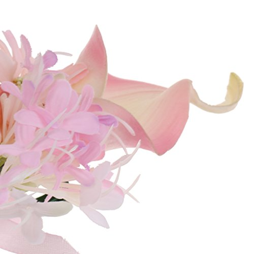 MagiDeal Hochzeit Seide Calla Blumen Boutonniere Braut Corsage Ansteckblume Bräutigam Boutonniere Brosche Pin - Rosa, 14 x 9 x 4cm - 8