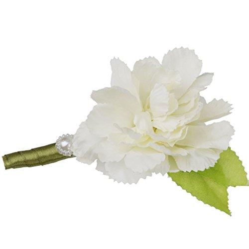 Generic Hochzeit Braut Bräutigam Männer Smoking Ansteckblume Corsage Blumen Brosche Weiß - 2