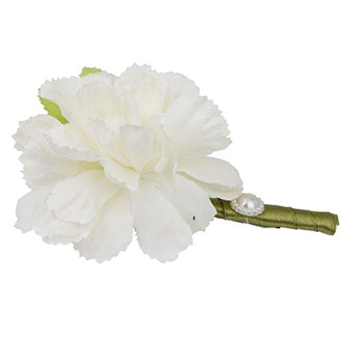 Generic Hochzeit Braut Bräutigam Männer Smoking Ansteckblume Corsage Blumen Brosche Weiß - 3