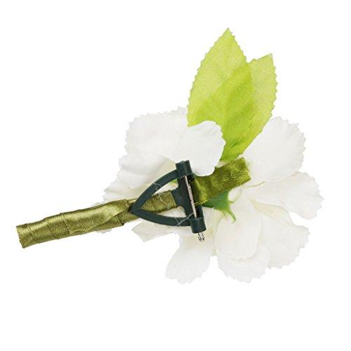 Generic Hochzeit Braut Bräutigam Männer Smoking Ansteckblume Corsage Blumen Brosche Weiß - 4