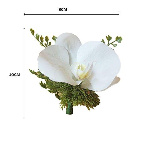 Fantasy Closet Hochzeit Blumen Wedding Künstliche 1 Kopf Boutonniere Corsage Ansteckblume Bräutigam Suit Party Dekoration Weiß Mixed Violett - 2