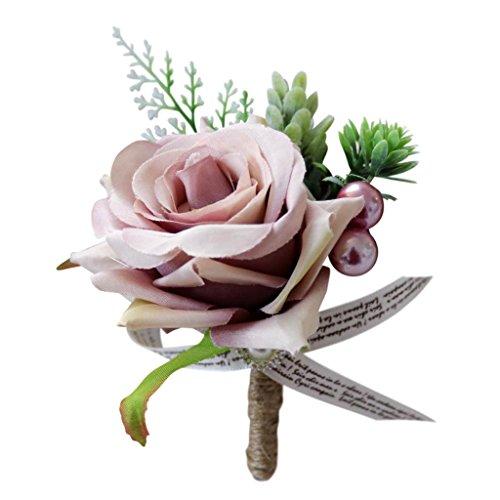 Romantische Blumen Anstecker Boutonniere - Altrosa