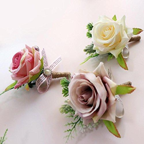 Baoblaze Romantische Rose Blumen Anstecker Gästeanstecker Hochzeitsanstecker Anstecknadel Boutonniere - Altrosa, 13 x 10 x 6 cm - 3