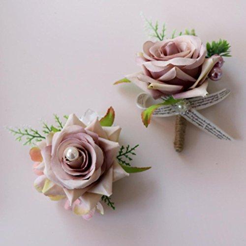 Baoblaze Romantische Rose Blumen Anstecker Gästeanstecker Hochzeitsanstecker Anstecknadel Boutonniere - Altrosa, 13 x 10 x 6 cm - 4