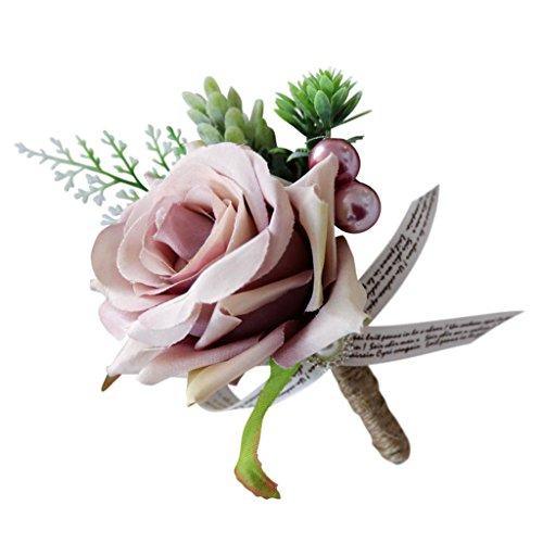 Baoblaze Romantische Rose Blumen Anstecker Gästeanstecker Hochzeitsanstecker Anstecknadel Boutonniere - Altrosa, 13 x 10 x 6 cm - 5
