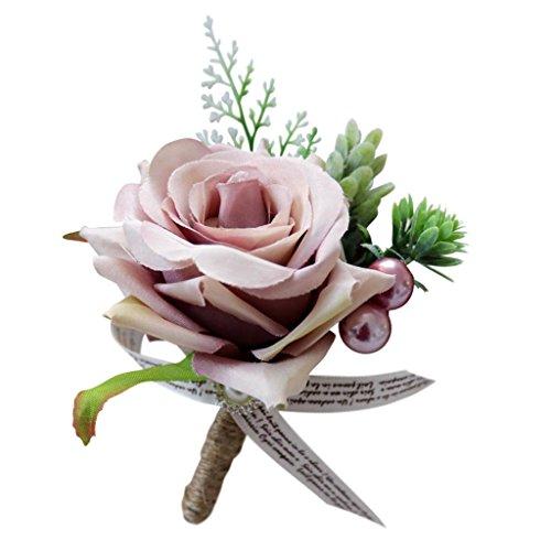 Baoblaze Romantische Rose Blumen Anstecker Gästeanstecker Hochzeitsanstecker Anstecknadel Boutonniere - Altrosa, 13 x 10 x 6 cm - 6