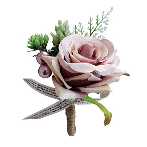 Baoblaze Romantische Rose Blumen Anstecker Gästeanstecker Hochzeitsanstecker Anstecknadel Boutonniere - Altrosa, 13 x 10 x 6 cm - 7
