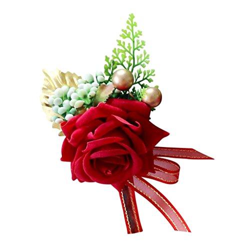 Baoblaze Künstliche Rose Blumen Anstecker Gästeanstecker Hochzeitsanstecker Anstecknadel Boutonniere - rot, 14 x 9 x 6 cm - 2
