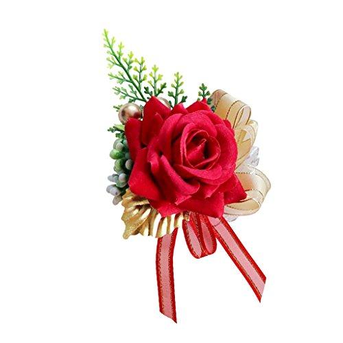 Baoblaze Künstliche Rose Blumen Anstecker Gästeanstecker Hochzeitsanstecker Anstecknadel Boutonniere - rot, 14 x 9 x 6 cm - 3