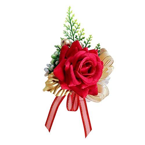 Baoblaze Künstliche Rose Blumen Anstecker Gästeanstecker Hochzeitsanstecker Anstecknadel Boutonniere - rot, 14 x 9 x 6 cm - 5