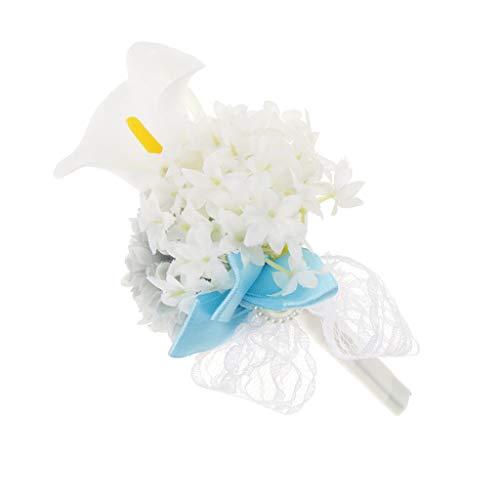 Baoblaze Rosen Hochzeitsanstecker Gästeanstecker Ansteckblume Handgelenk für Hochzeit Party und Bankett - Grau - 2