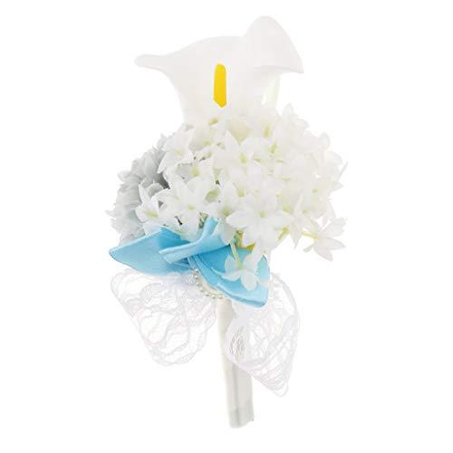 Baoblaze Rosen Hochzeitsanstecker Gästeanstecker Ansteckblume Handgelenk für Hochzeit Party und Bankett - Grau - 3