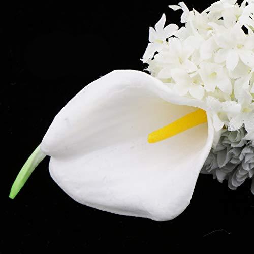 Baoblaze Rosen Hochzeitsanstecker Gästeanstecker Ansteckblume Handgelenk für Hochzeit Party und Bankett - Grau - 4