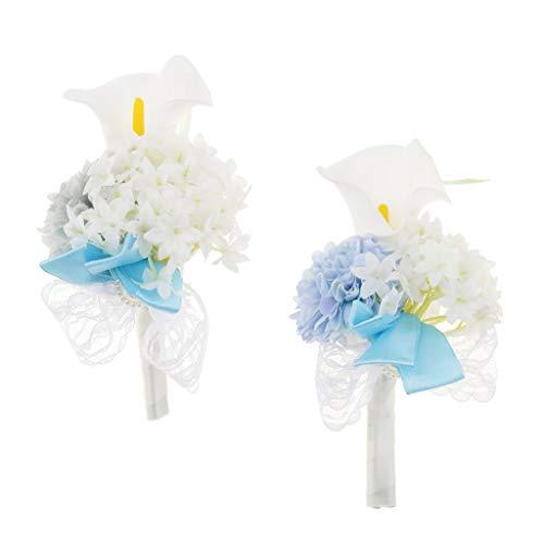 Baoblaze Rosen Hochzeitsanstecker Gästeanstecker Ansteckblume Handgelenk für Hochzeit Party und Bankett - Grau - 5