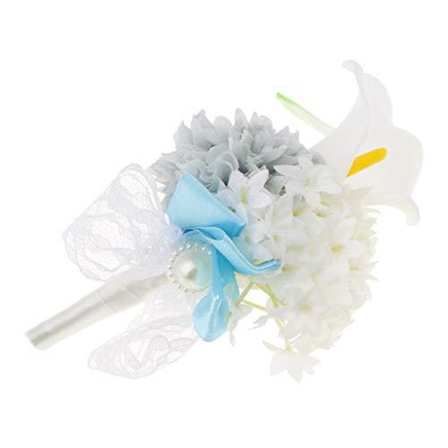 Baoblaze Rosen Hochzeitsanstecker Gästeanstecker Ansteckblume Handgelenk für Hochzeit Party und Bankett - Grau - 7