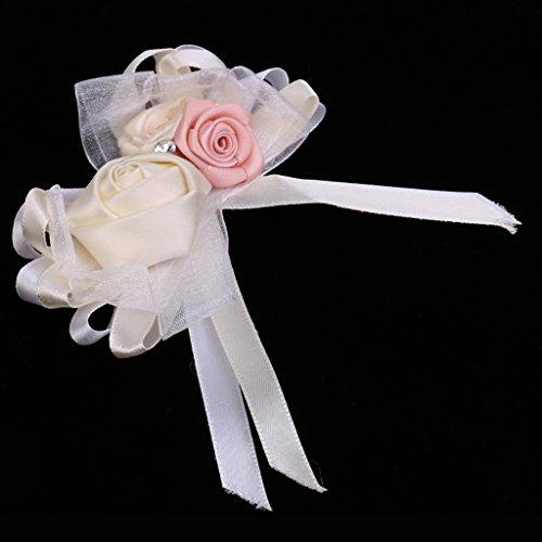 MagiDeal Rhinestone Blumen Anstecker Gästeanstecker Hochzeitsanstecker Anstecknadel Boutonniere - Creme, wie beschrieben - 4