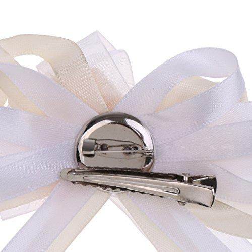 MagiDeal Rhinestone Blumen Anstecker Gästeanstecker Hochzeitsanstecker Anstecknadel Boutonniere - Creme, wie beschrieben - 5