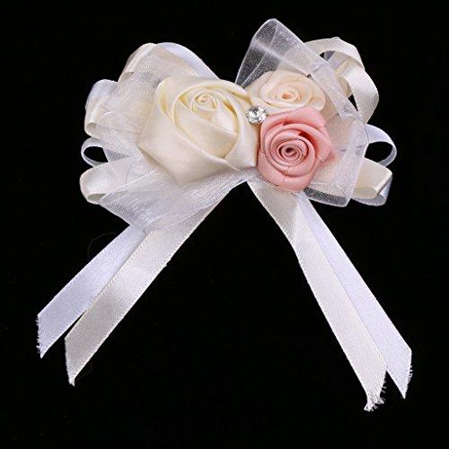 MagiDeal Rhinestone Blumen Anstecker Gästeanstecker Hochzeitsanstecker Anstecknadel Boutonniere - Creme, wie beschrieben - 7
