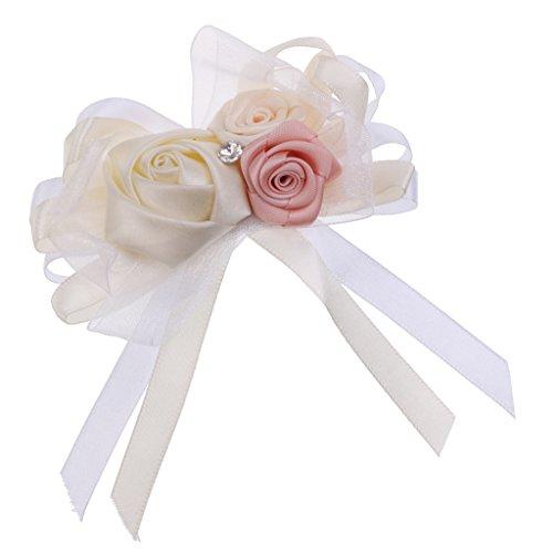 MagiDeal Rhinestone Blumen Anstecker Gästeanstecker Hochzeitsanstecker Anstecknadel Boutonniere - Creme, wie beschrieben - 8