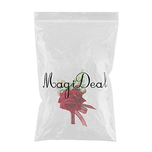 MagiDeal Gästeanstecker Anstecker Hochzeit Hochzeitsanstecker Gast Gastanstecker Künstliche Rose Blumen - rot, 14 x 9 x 6 cm - 2