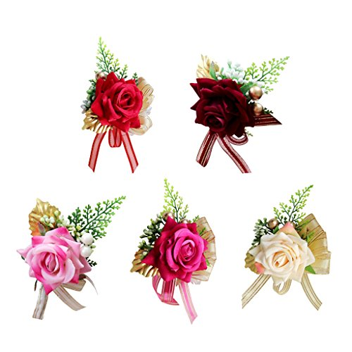 MagiDeal Gästeanstecker Anstecker Hochzeit Hochzeitsanstecker Gast Gastanstecker Künstliche Rose Blumen - rot, 14 x 9 x 6 cm - 3