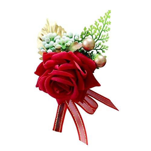 MagiDeal Gästeanstecker Anstecker Hochzeit Hochzeitsanstecker Gast Gastanstecker Künstliche Rose Blumen - rot, 14 x 9 x 6 cm - 5